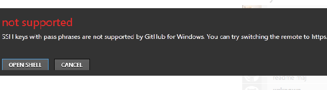 SSH Keys with pass phrases are not supported by GitHub for windows. You can try switching the remote to https