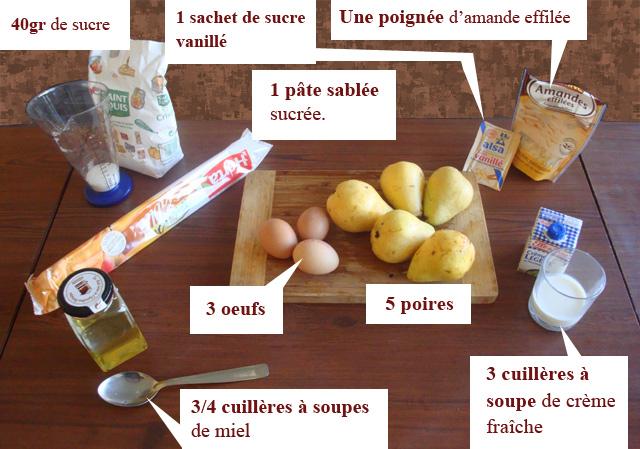 Ingrédients de la tarte au poire