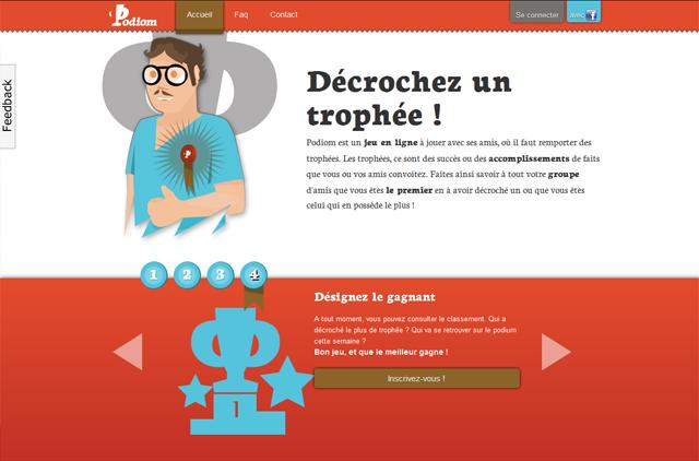 capture d'écran de la home page de podiom
