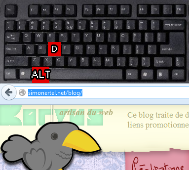 La combinaison ATL+D permet d&#039;accder directement  la barre d&#039;url et de pouvoir l&#039;diter.