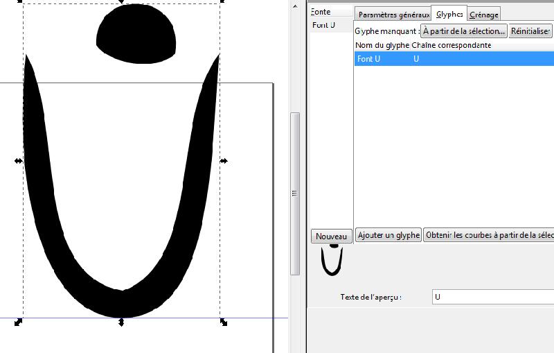 screenshot de inkscape avec lettre composée